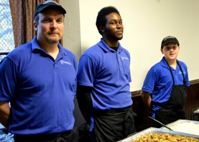 Alan, Jared and A.J. serving from the buffet